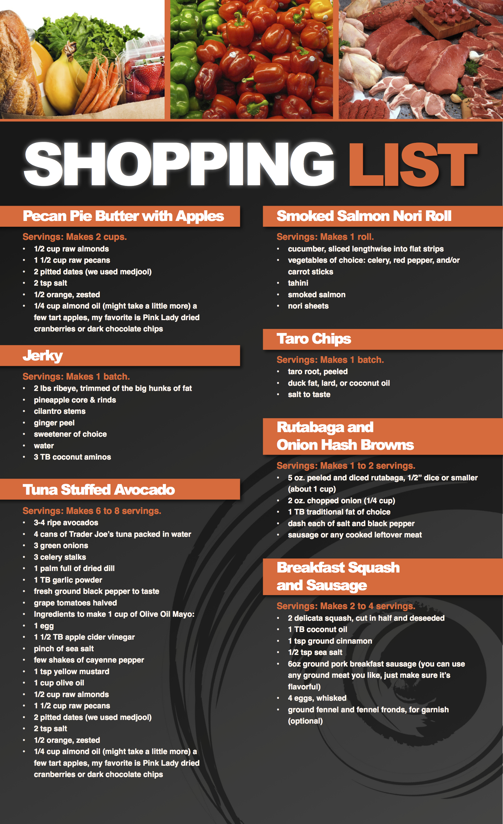 Paleo Primal Food Shopping List
