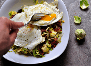 Paleo Breakfast Ideas - Brussel Sprout Breakfast Hash with Bacon & Apples