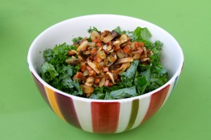 Paleo Breakfast Ideas - Kale Salad with Warm Andouille Sausage Dressing