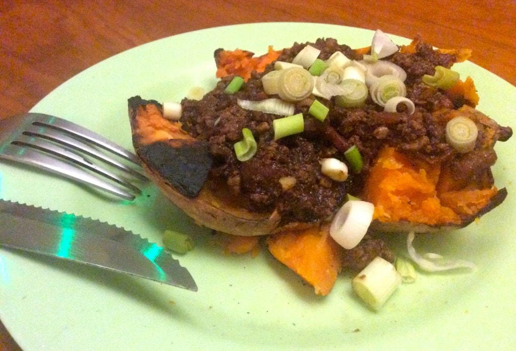 Chocolate Chili Sutffed Sweet Potato